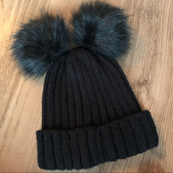 bee2734bcec My Accessories Black Double Pom Beanie Hat ASOS